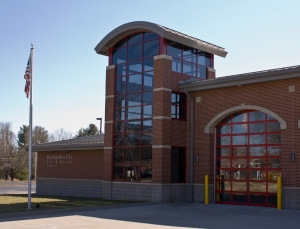 A glass facade on a fire station