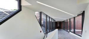 Glass Window in a Modern Walkway