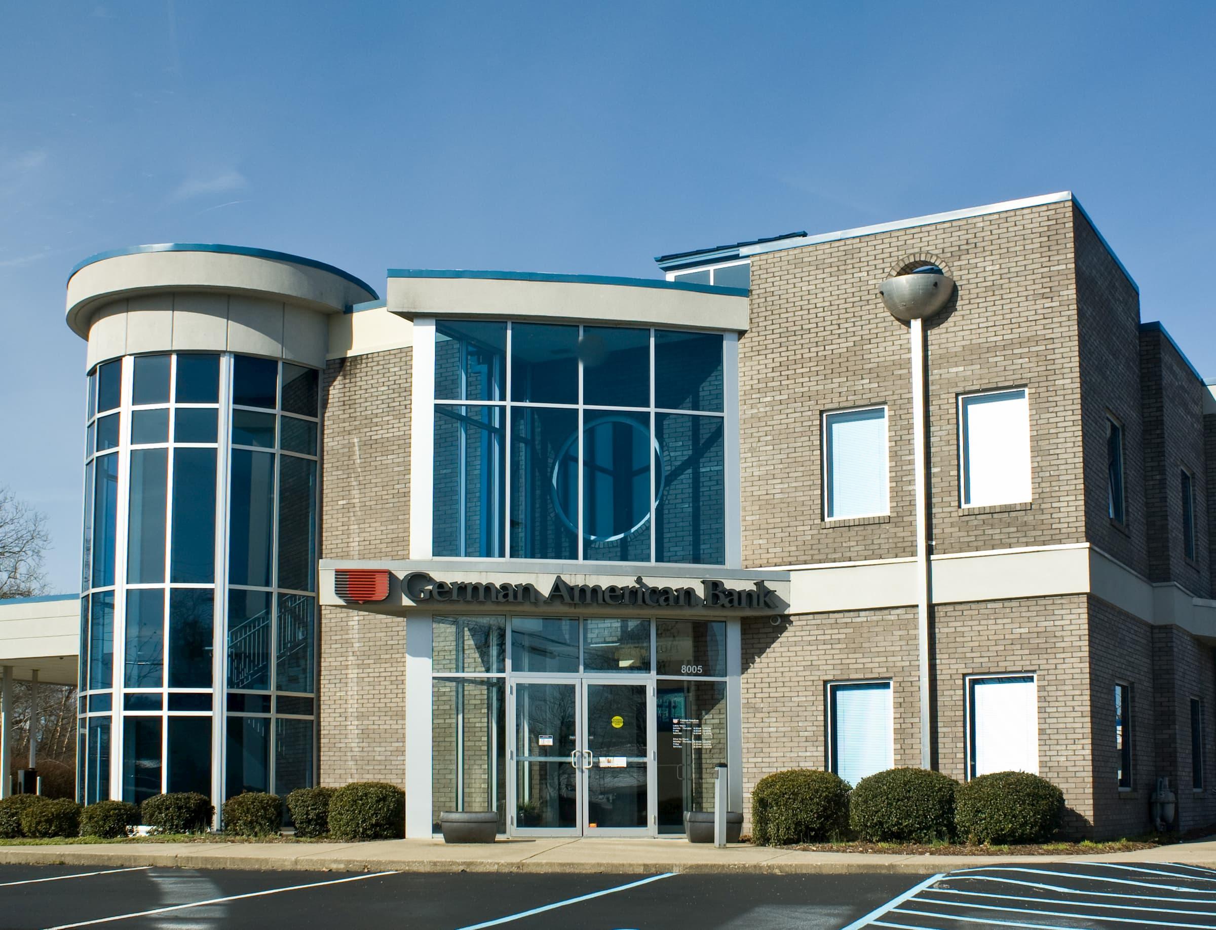 Commercial glass windows on a bank in Louisville Kentucky