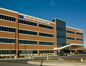 Glass windows and glass walls on the Norton healthcare building
